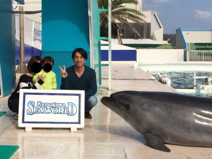 イルカと記念写真